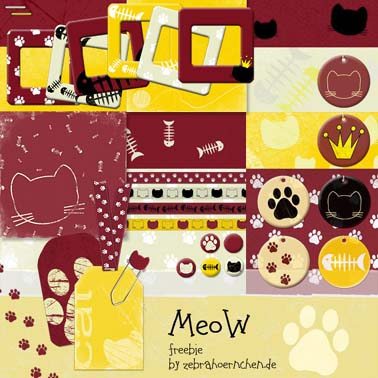 free scrapbooking kit cats meow katzen